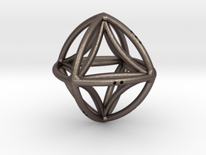 Double Octahedron in Polished Bronzed Silver Steel