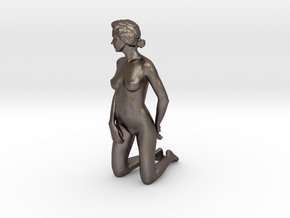 D. Kneeling - 10cm high - Solid model in Polished Bronzed Silver Steel