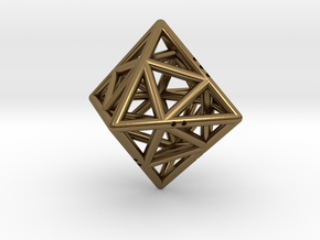 Octahedon with Icosahedron inside in Polished Bronze