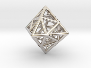 Octahedon with Icosahedron inside in Rhodium Plated Brass