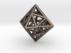 Octahedon with Icosahedron inside in Polished Bronzed Silver Steel