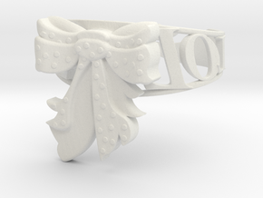 LOL Bow Bracelet in White Natural Versatile Plastic