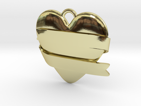 Heart With Ribbon in 18k Gold Plated Brass