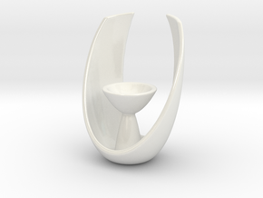 Modern Oval Tealight Holder in Gloss White Porcelain