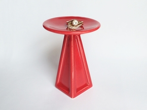 Porcelain Jewelry Pedestal - for 3d printed rings! in Gloss Red Porcelain