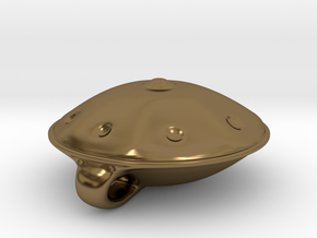 Handpan Instrument Pendant v4 in Polished Bronze