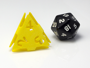 Big die 4 / d4 26mm / dice set in Yellow Processed Versatile Plastic