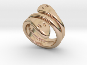 Ring Cobra 23 - Italian Size 23 in 14k Rose Gold Plated Brass