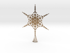 Sparkle Snow Star - Fractal Tree Top - LP1 - S in Natural Brass