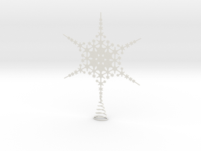 Sparkle Snow Star - Fractal Tree Top - HP1 - L in White Natural Versatile Plastic
