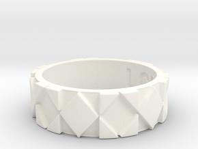 Futuristic Rhombus Ring Size 6 in White Processed Versatile Plastic