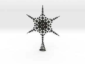 Sparkle Snow Star - Fractal Tree Top - HP2 - L in Black Natural Versatile Plastic