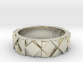 Futuristic Rhombus Ring Size 4 in 14k White Gold