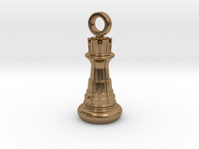 Chess Rook Pendant in Natural Brass