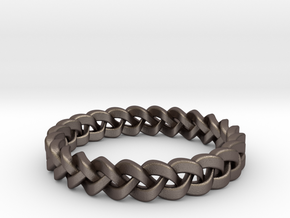 Napkin Holder Braided in Polished Bronzed Silver Steel