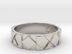 Futuristic Rhombus Ring Size 14 in Platinum