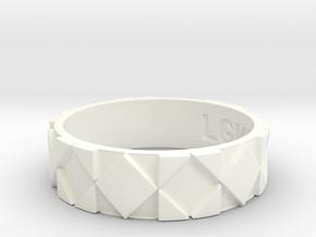 Futuristic Rhombus Ring Size 13 in White Processed Versatile Plastic