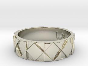 Futuristic Rhombus Ring Size 12 in 14k White Gold
