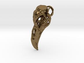 Raven skull Pendant in Polished Bronze