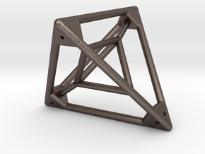 Tetrahedron with Tetrahedron inside in Polished Bronzed Silver Steel