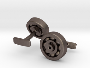Bearing Cufflink in Polished Bronzed Silver Steel