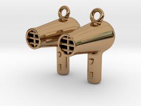 Hair Dryer Earrings in Polished Brass