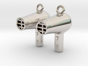 Hair Dryer Earrings in Rhodium Plated Brass