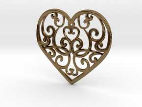 Christmas Heart Ornament in Polished Bronze