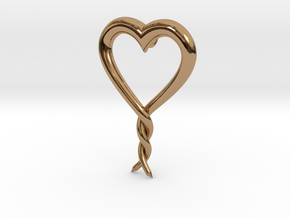 Twisted Heart 2 in Polished Brass