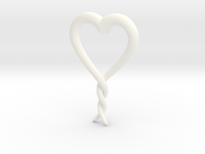 Twisted Heart 2 in White Processed Versatile Plastic