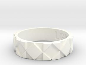Futuristic Rhombus Ring Size 10 in White Processed Versatile Plastic
