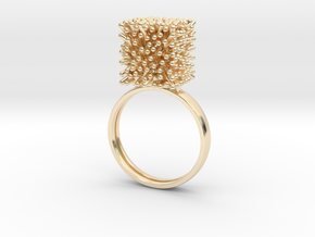 Constantina Architectural Coral Ring in 14k Gold Plated Brass