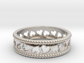 Size 7 Hearts Ring A in Rhodium Plated Brass
