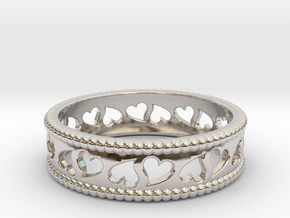 Size 10 Hearts Ring A in Rhodium Plated Brass