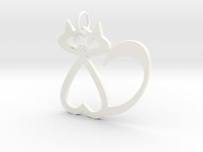 Heart Cat Keychain in White Processed Versatile Plastic