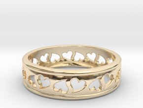 Size 7 Hearts Ring B in 14K Yellow Gold