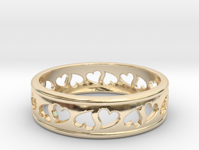 Size 8 Hearts Ring B in 14K Yellow Gold