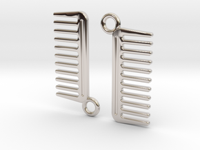 Comb Earrings in Rhodium Plated Brass
