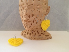 Mosaic Heart Earrings Large in Yellow Processed Versatile Plastic