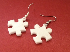 Puzzle Earrings in White Processed Versatile Plastic