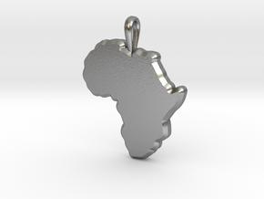 Mapa Mudo de Africa in Natural Silver