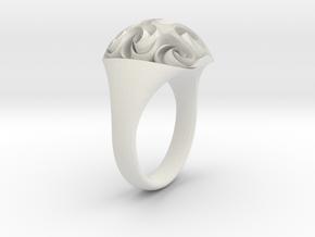 Rosette Ring in White Natural Versatile Plastic