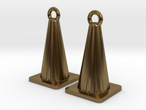 Traffic Cone Earrings in Polished Bronze