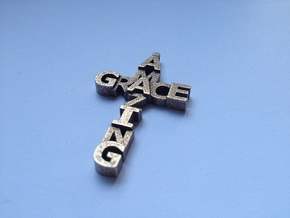 Amazing Grace Cross Pendant in Polished Bronzed Silver Steel