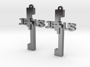 Jesus Earrings in Polished Silver