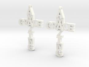 Amazing Grace Cross Earrings in White Processed Versatile Plastic