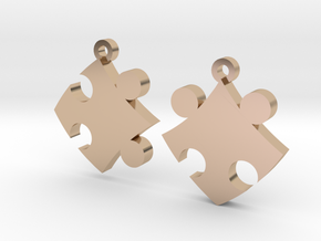 Puzzle Earrings in 14k Rose Gold Plated Brass