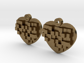 Mosaic Heart Earrings Small in Natural Bronze