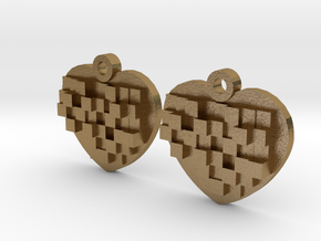 Mosaic Heart Earrings Small in Polished Gold Steel
