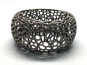 Honeycomb Bangle in Polished Bronzed Silver Steel: Small